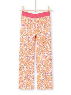 Conjunto de pijama de camiseta y pantalón blanco y naranja para niña MEFAPYJLEO / 21WH1133PYJ001