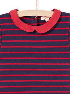 Vestido de punto milano de rayas de manga corta de color rojo y azul noche para niña MAJOROB2 / 21W90126ROBC205