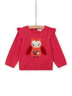 Jersey rosa con estampado de búho para bebé niña MIFUNPUL / 21WG09M1PULD332