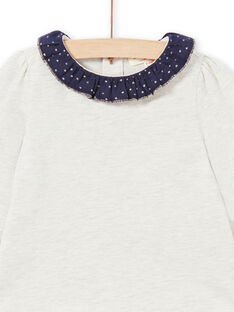 Camiseta beige jaspeado y azul marino para bebé niña MIJOBRA4 / 21WG0912BRAA011