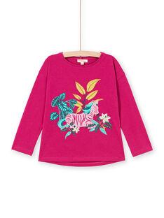 Camiseta de manga larga fucsia con estampado de cebra para niña MATUTEE1 / 21W901K3TMLD312