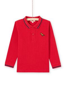 Polo de manga larga liso de color rojo para niño MOJOPOL4 / 21W90211POL505