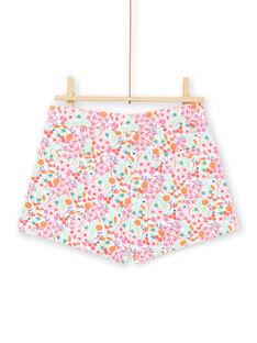 Short blanco y rosa con estampado floral para niña LAVISHORT / 21S901U1SHO000