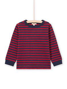 Camiseta de manga larga de rayas de color rojo y azul marino para niño MOJOTIRIB2 / 21W90224TML505