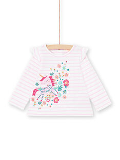 Camiseta de manga larga de color lila de rayas con estampado de unicornio para bebé niña MITUTEE1 / 21WG09K1TMLH700