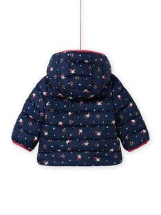 Anorak con capucha de color azul marino con estampado floral para bebé niña MIKADOU / 21WG0952D3E070