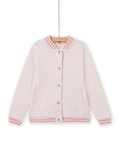 Chaqueta de chándal estilo teddy de color rosa jaspeado para niña MAJOHAUJOG2 / 21W90112JGHD314