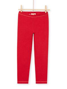 Leggings de color rojo con detalles dorados para niña MYAJOLEG1 / 21WI0113CAL511