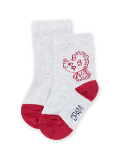 Calcetines de color gris y rojo con estampado de dinosaurios para bebé niño MYUJOCHOU1 / 21WI101ASOQ943