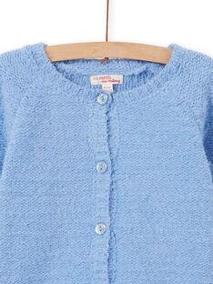 Cárdigan de punto chenilla de color azul pastel, para niña MAYJOCAR3 / 21W90119CAR706