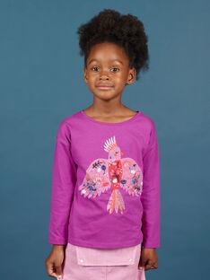 Camiseta de manga larga de color violín con estampado de loro para niña MAPATI1 / 21W901H3TML712
