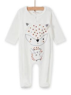 Pelele de color crudo con estampado animal para recién nacido unisex MOU2GRE1 / 21WF05D3GRE001