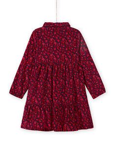Vestido azul con cuello camisero y estampado floral para niña MAFUNROB3 / 21W901M2ROBH703