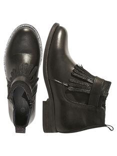 Botas con flecos de piel de color negro para niña GFBOOTTREP / 19WK35I6D0D090
