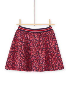 Falda azul con estampado floral para niña MAFUNJUP3 / 21W901M2JUPH703