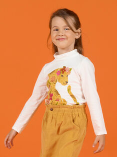 Jersey fino de color crudo con estampado de leopardo y flores para niña MASAUSOUP / 21W901P1SPL001