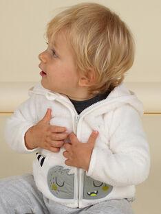 Cárdigan con capucha de color crudo con estampado de monstruo de soft boa para bebé niño MUHIGIL / 21WG10U1GIL001