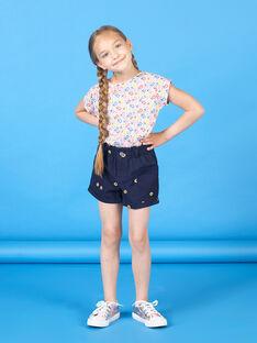 Short azul marino con estampado floral, para niña LAHASHORT / 21S901X1SHO070