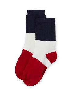 Calcetines tricolores azul y rojo para niño MYOJOCHOC3 / 21WI0213SOQ705