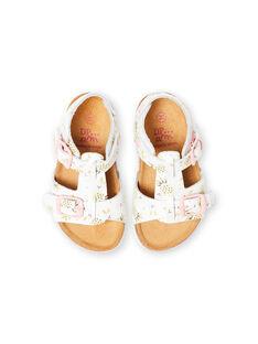 Sandalias de color blanco con hebillas y estampado de piñas para bebé niña LBFNUANAS / 21KK3751D0E000