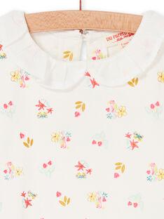 Camiseta de color crudo y rosa, con estampado floral, para bebé niña LIVERBRA / 21SG09Q1BRA001