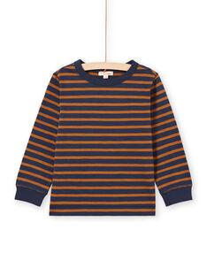 Camiseta de manga larga de rayas de color marrón y azul marino para niño MOJOTIRIB4 / 21W9022BTML812