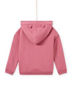 Sudadera rosa con capucha y dibujo de gato para niña MAFUNSWEA / 21W901M1SWEH700