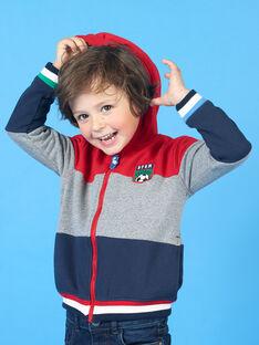 Sudadera de rayas de color rojo y gris, con capucha, para niño LOHAGIL / 21S902X1GIL050