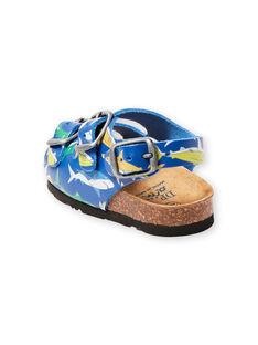 Sandalias de color azul marino con estampado de tiburones para bebé niño LBGNUREQUIN / 21KK385CD0E070