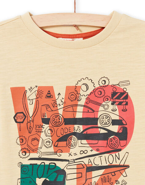 Camiseta de manga larga de color beige y crudo con estampado de fantasía para niño MOCOTEE1 / 21W902L1TMLA006
