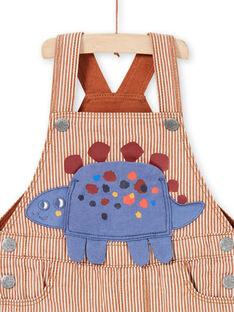 Peto de sarga de rayas de color marrón y crudo con estampado de dinosaurio para bebé niño MUPASAL / 21WG10H1SALI811