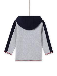 Sudadera de chándal con capucha de color gris y azul marino para niño MOJOJOH3 / 21W90211JGHJ922