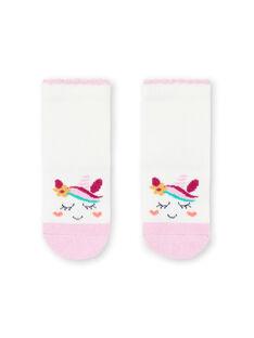 Calcetines de color crudo y rosa con estampado de unicornio para bebé niña MYITUSOQ / 21WI09K1SOQ001