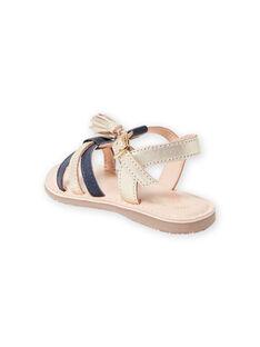 Sandalias de piel de color dorado y azul marino con borlas para niña LFSANDLOUISE / 21KK355PD0E954