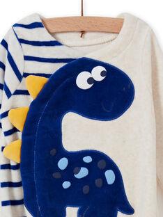 Pelele de color crudo jaspeado con estampado de dinosaurio para bebé niño MEGAGRENOS / 21WH1485GRE006