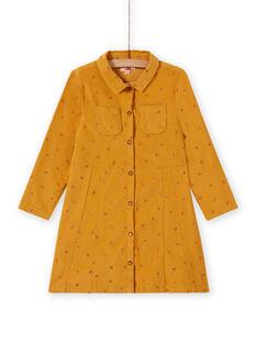Vestido amarillo de terciopelo con estampado de fantasía para niña MASAUROB3 / 21W901P1ROBB107