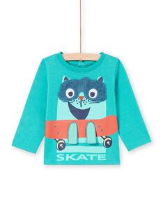 Camiseta de manga larga turquesa con estampado de gato skater para bebé niño MUTUTEE1 / 21WG10K2TMLC217