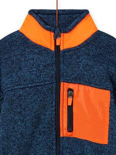 Cárdigan de color azul grisáceo jaspeado con detalles de color naranja para niño MOJOGITEK3 / 21W90213GIL219