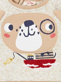 Sudadera de color beige jaspeado para bebé niño LUNOSWE / 21SG10L1SWEA010