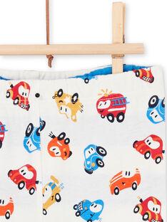 Leggings reversibles de color blanco y azul, con estampado de coche, para bebé niño LUHAPAN2 / 21SG10X2PAN001