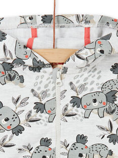 Sudadera con capucha de color gris y crudo, con estampado de koalas para bebé niño LUPOEGIL / 21SG10Y1GILA011