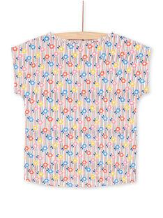 Falda de rayas de color rosa y azul, con estampado floral, para niña LAHATI2 / 21S901X2TMC001