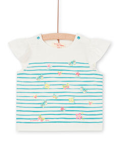 Camiseta de rayas de color blanco y azul, para bebé niña LIVERTI2 / 21SG09Q1TMC001