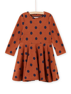 Vestido de punto de color caramelo de lunares para niña MACOMROB2 / 21W901L3ROB420