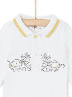 Body con cuello de polo de color blanco para niño recién nacido LOU1BOD5 / 21SF04H1BOD000