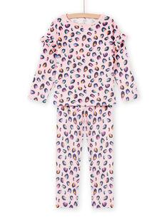 Pijama de terciopelo rosa con estampado de pantera para niña MEFAPYJBOX / 21WH1197PYJ309