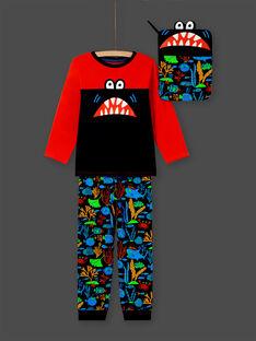 Pijama de camiseta y pantalón naranja y azul oscuro para niño MEGOPYJMAN4 / 21WH1274PYGE414