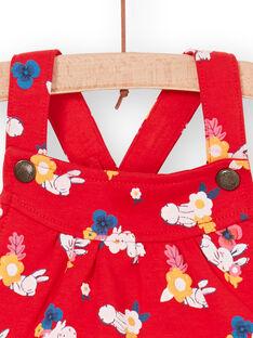 Peto rojo y blanco, con estampado floral, para bebé niña LIHACOMB / 21SG09X2CBL505