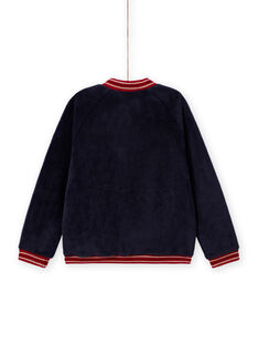 Cárdigan estilo teddy reversible de color azul noche para niña MAMIXCAR2 / 21W901J1CARC205
