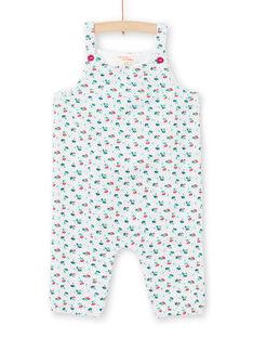 Peto de color crudo y azul con estampado floral para bebé niña MITUCOMB / 21WG09K1CBL001